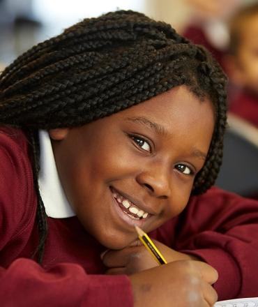 girl in class on uniform
